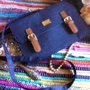 Handbags - Korean Navy Blue Faux Denim Mini Messanger Bag